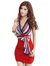 New Fashion Colorful Stripes Lace Up V-neck Straps Dress