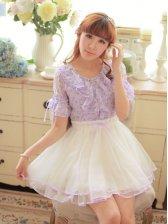Hot Fashion Flare Sleeve Studded Floral Dress