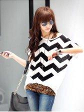 Street Fashion Batwing Sleeve Striped Blouse