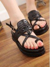 Korean Fashion Open-toe PU Black Wedges Sandals