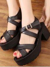 Korean Fashion Open-toe Black PU Sandals