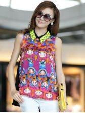 Summer Lady Fashion Turn-Down Collar Lovely Pattern Sleeveless Chiffon Blouses