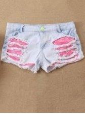 Summer Korean Hole Patchwork Color Block Denim Short Pocket Pants