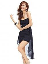 Sexy Women Asymmetrical Hem Pure Color Strapless Dress
