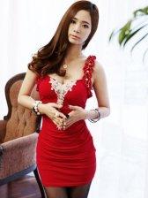 Fashion Women Lace Edges Diamond Square Collar Sleeveless Dress