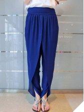 European Style Blue Elasticized Waist Pure Color Chiffon Cropped Pants