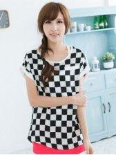 Hot Sale Lady Square Pattern Round Neck Short Sleeve T-shirts