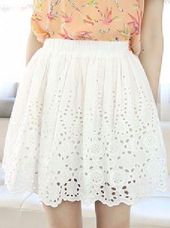 Cute Girls Empire Waist Hollow-out White Short Skirt