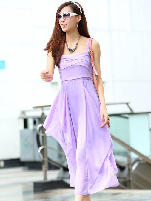 Brand New Asymmetrical Hem Straps Chiffon  Purple Maxi Dress