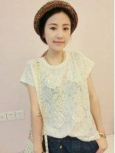 Summer Round Neck Lace Short Sleeve White Blouse