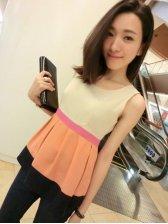 New Fashion Round Collar Color Block Sleeveless Blouse
