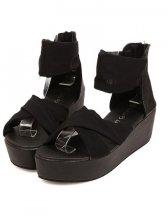 Stylish Lady Cross Belt Lace Black Silk Sandals