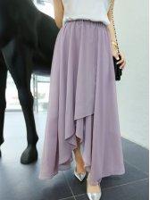 New Pretty Solid Color Asym Hem Long Skirt