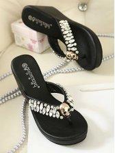 Wholesale Fashion Rubber Sole PU Black Slipper
