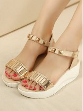 New Style Fashion One-buckle Belt Rivets Wedge Sandals