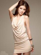 Hot Summer Sequin Ruffled Pure Color Halter Dress