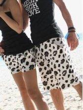 Summer Seaside Leopard Couple Cotton Short Pants