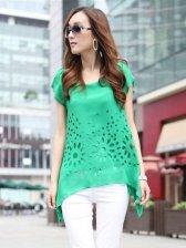 Summer Fashion Hollow-out Asymmetrical Hem Chiffon Green Blouse