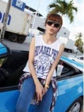 Retro Fashion Tiger Print White Sleeveless Tank