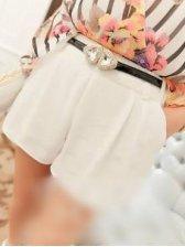 New Trendy Pure Color Pocket White Short Pants