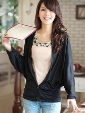 Brand New Single-breasted Bat Sleeve Black Coat