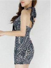 New Fashion Lace Up Leopard Backless Slim Halter Dress