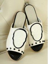 Summer Fashion Peep-toe PU White Slipper