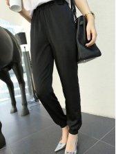 European Fashion Pure Color Black Harem Pants