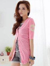 Sweet Pink Skulls Color Block Half Sleeve Short Coats