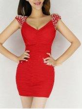 New Fashion V-neck Backless Studded Sleeveless Dress