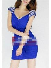 Hot Summer Studded V-neck Backless Sleeveless Dress