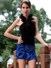 Fashion Women Color Block Ruffles Halter Dress