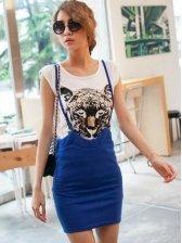 Summer Blue Braces Short Skirt Color Block Two Pieces Dress