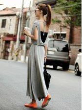 New Fashion Backless Round Collar Sleeveless Maxi Dress