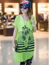 Korean Fashion Green Round Neck Short Sleeve Two Pieces Dress