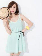 Fresh Summer Off Shoulder Pearl Straps Chiffon Dress With Belt