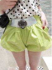 Summer Fashion Green Metal Leopard Lantern Short Pocket Pants