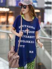 Korean Letter Print Asymmetrical Hem Short Sleeve Two Pieces Dress
