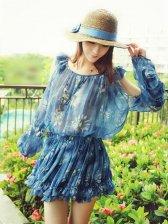 Stylish Girl Floral Print Ruffled Sleeve Dress