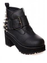 European Style Rivets Bubble Sole Black PU Boots