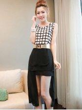 Trendy Girls Black Asymmetrical Hem Sleeveless Dress With Sashes