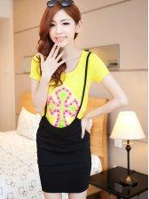 Fashion Yellow Rivets Cross Pattern Short Sleeve Two Pieces Dress