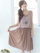 Hot Sale Coffee Round Neck Bow Pleated Sleeveless Dress