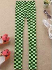 Fashion Retro Plaid Pattern Stretchable Elastic Waist Long Leggings
