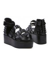 European Style Rubber Sole Open-toe Rivets PU Sandals