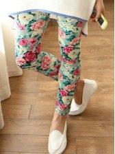 Fashion Woman Floral Print Slim Leggings