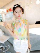 Summer Fashion Stand Collar Color Block Tank