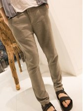 Korean Summer Solid Color Green Long Pants With Belt