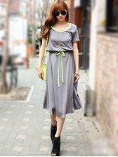 Hot Sale Round Neck Short Sleeve Lacing Cotton Maxi Dress