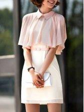 Modern Woman Turn Collar Short Sleeve Dress